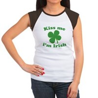 Kiss Me Im Irish Lucky Clover Women's Cap Sleeve T