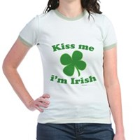 Kiss Me Im Irish Lucky Clover Jr. Ringer T-Shirt