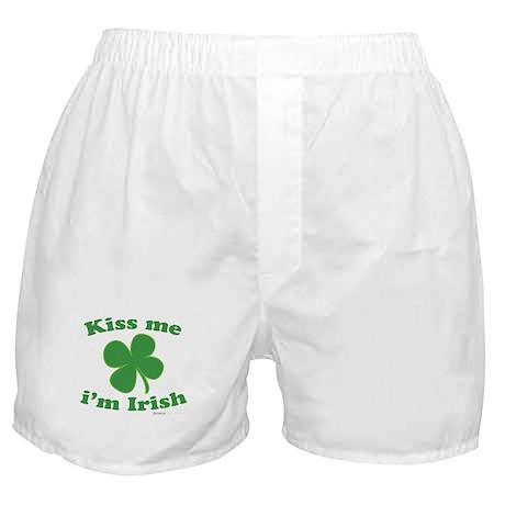 Kiss Me Im Irish Lucky Clover Boxer Shorts