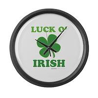 Luck O' Irish Clover Large Wall Clock