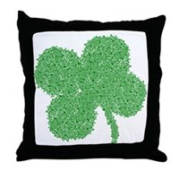 Emo Skull Clover Throw Pillow