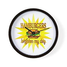 Hamburgers Brighten Wall Clock