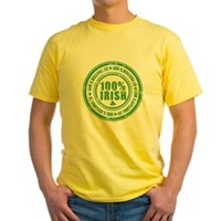 St Patrick's Day 100% Irish Stamp Yellow T-Shirt