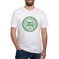 St Patrick's Day 100% Irish Stamp Fitted T-Shirt