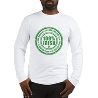 St Patrick's Day 100% Irish Stamp Long Sleeve T-Sh