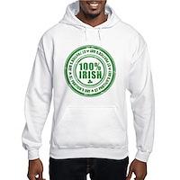 St Patrick's Day 100% Irish Stamp Hooded Sweatshir