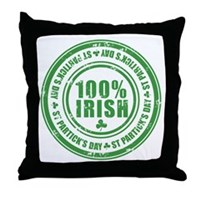 St Patrick's Day 100% Irish Stamp Throw Pillow