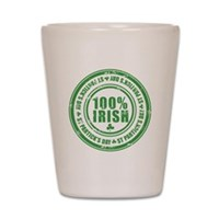 St Patrick's Day 100% Irish Stamp Shot Glass