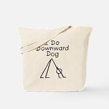 Black Downward Dog Tote Bag