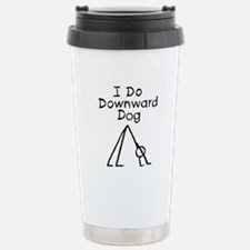 Black Downward Dog Stainless Steel Travel Mug