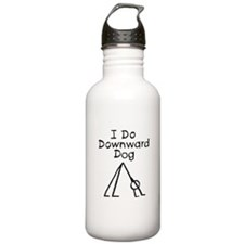 Black Downward Dog Water Bottle