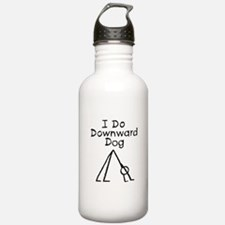 Black Downward Dog Water Bottle