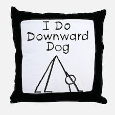 Black Downward Dog Throw Pillow