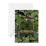 Saluting Soldier in Tank Greeting Cards (Pk of 20)