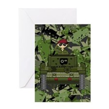 Saluting Soldier in Tank Greeting Card