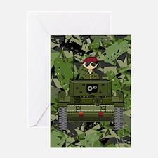 Saluting Soldier in Tank Greeting Card