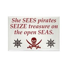 Sees Seize Seas - Rectangle Magnet