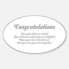 Wedding Congratulations Poem. Decal