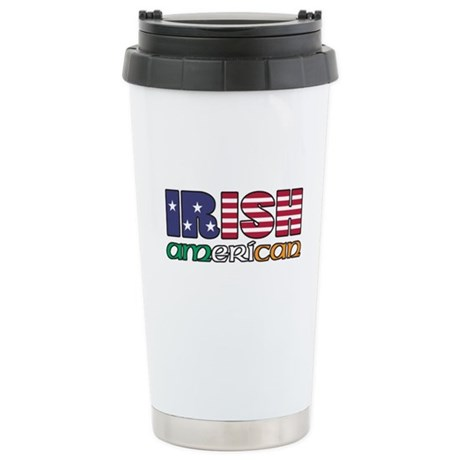 Irish-US Flags Stainless Steel Travel Mug