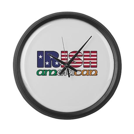 Irish-US Flags Large Wall Clock