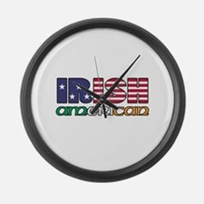 Irish-US Flags Large Wall Clock