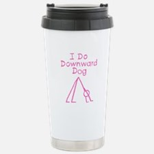 Pink Downward Dog Stainless Steel Travel Mug