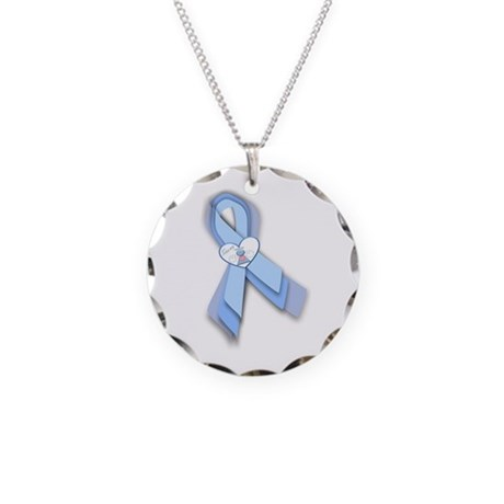Trisomy 18 Ribbon Necklace Circle Charm