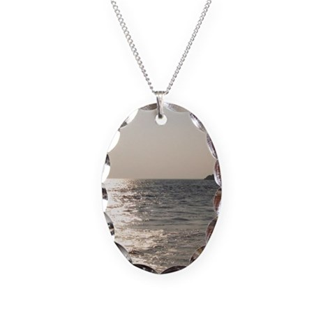 Beach sunset 0501 - Necklace Oval Charm