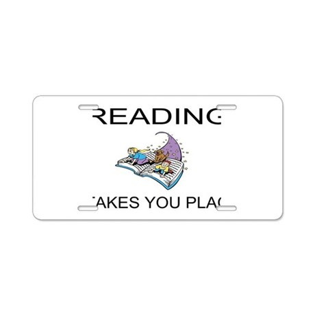Reading Takes You Places Aluminum License Plate