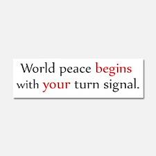 World Peace Turn Signal Car Magnet 10 x 3