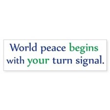 World Peace Turn Signal Bumper Bumper Sticker