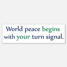 World Peace Turn Signal Bumper Bumper Stickers