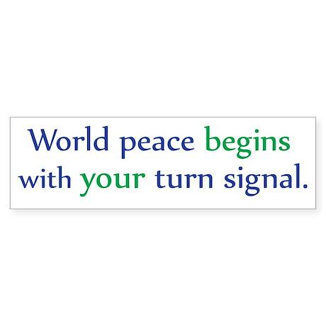 World Peace Turn Signal Bumper Sticker