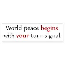 World Peace Turn Signal Bumper Bumper Sticker