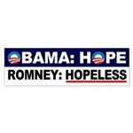 Obama Hope Romney Hopeless bumper sticker