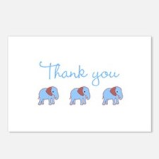 Blue and Brown Elephant Thank Postcards (Package o