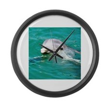 Dolphin in Caribbean Blue Wat Large Wall Clock