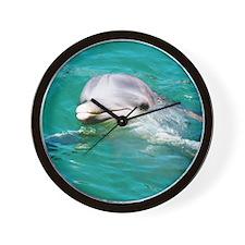 Dolphin in Caribbean Blue Wat Wall Clock