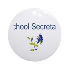 School Secretary Flower Ornament (Round)