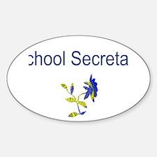 School Secretary Flower Sticker (Oval)