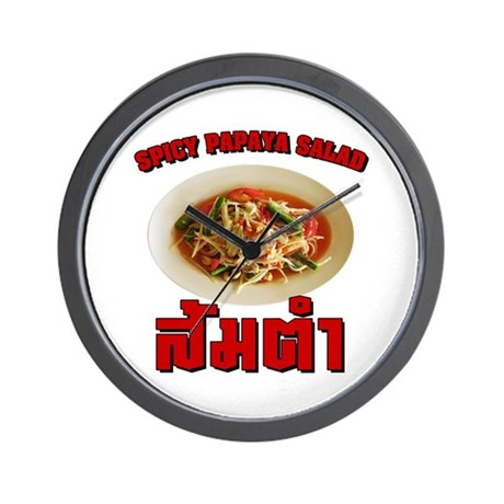 Spicy Papaya Salad (Som Tam) Wall Clock