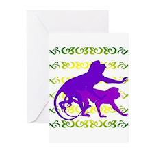 Purple Monkey Scroll Greeting Cards (Pk of 10)