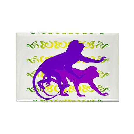 Purple Monkey Scroll Rectangle Magnet