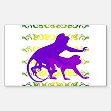 Purple Monkey Scroll Rectangle Decal