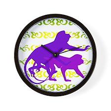 Purple Monkey Scroll Wall Clock