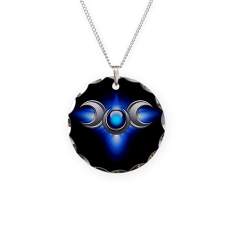 Blue Pagan Triple Goddess Necklace Circle Charm