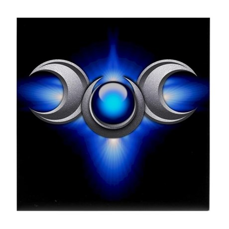 Blue Pagan Triple Goddess Tile Coaster