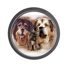 tibetan Mastiff family group Wall Clock