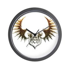 Industrial curved bat (gold) Wall Clock