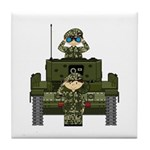 Army Soldiers in Tank Tile Coaster